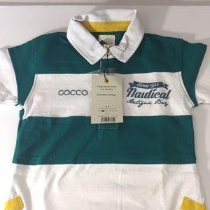 Gocco Polo, Toddler Boy Shirt green, white, yellow